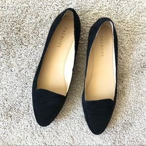 Talbots black suede point-toe loafer-style flat